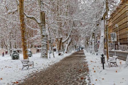 ZAGREB, CROATIA - December 28, 2014: Winter scene of the Zrinjevac park in the city center, capital of Croatia.