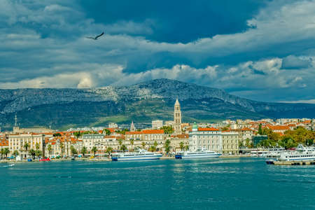 Arrival to old town Split by ship.