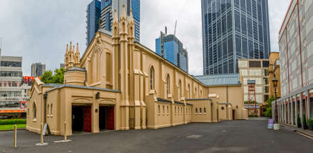 samuel: MELBOURNE, AUSTRALIA - MARCH 16, 2015: St. Francis Catholic Church on corner of Elizabeth and Lonsdale Streets, listed on the Victorian Heritage Register and designed by Samuel Jackson.