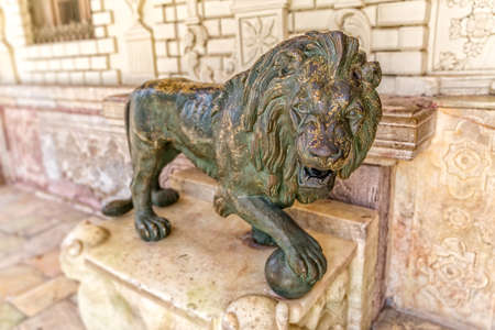 middle east fighting: Lion statue in Golestan Palace former royal Qajar complex in capital city. Tehran, Iran.