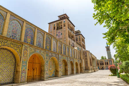 Edifice of the Sun of the royal palace Golestan oldest groups of buildings in persian capital, was rebuilt to its current form in 1865. Tehran, Iran.