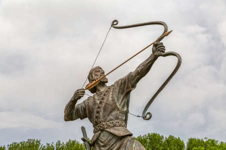 heroic: Statue of Aresh Kamangir the Archer in the Niavaran Palace Complex garden, is a heroic archer-figure of Iranian oral tradition and folklore. Tehran, Iran.