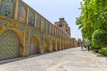 edifice: TEHRAN, IRAN - MAY 1, 2015: Edifice of the Sun of the royal palace Golestan oldest groups of buildings in persian capital, was rebuilt to its current form in 1865.