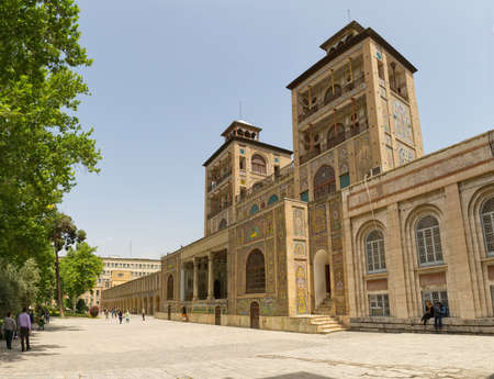 edifice: TEHRAN IRAN  MAY 1 2015: Edifice of the Sun of the royal palace Golestan oldest groups of buildings in persian capital was rebuilt to its current form in 1865.