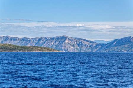 brac: Brac sea channel between island and coast near mountain Biokovo.