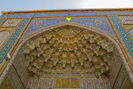 shiraz: SHIRAZ, IRAN - MAY 2, 2015: Vakil Mosque entrance cells of heaven in the old part of the city near Citadel.