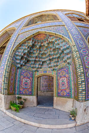 passages: Fisheye view of the one of the passages of the Nasir al-Mulk Mosque is a traditional mosque located in Goad-e-Araban place in Shiraz.