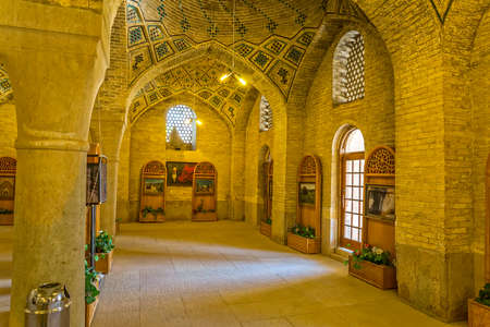 shiraz: SHIRAZ, IRAN - MAY 2, 2015: Beautiful interior of the Nasir Al-Mulk Mosque a traditional mosque located in Goad-e-Araban place.