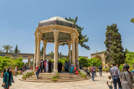 hafez: SHIRAZ, IRAN - MAY 2, 2015: Visitors take a tour of the tomb of Hafez great poet.