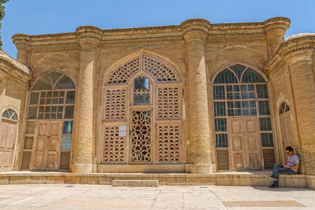 shiraz: SHIRAZ, IRAN - MAY 2, 2015: Saady student center entrance in the mausoleum of Hafez.