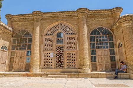 hafez: SHIRAZ, IRAN - MAY 2, 2015: Saady student center entrance in the mausoleum of Hafez.