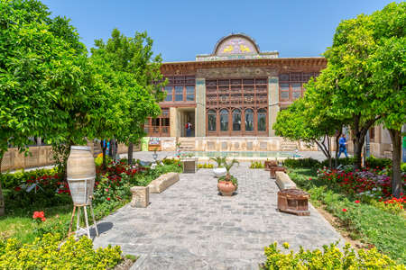 fars: SHIRAZ, IRAN - MAY 2, 2015: Zinat ol Molk House inner garden it is a private house turned into a museum.