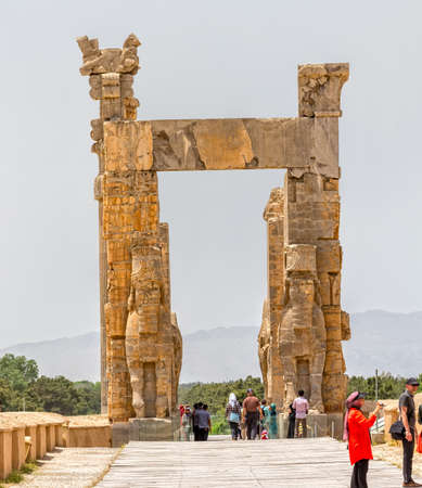 fars: PERSEPOLIS, IRAN - MAY 3, 2015: Xerxes Gate of nations with Lamassu statues at the entrance of the old city.