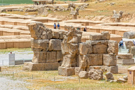 fars: PERSEPOLIS, IRAN - MAY 3, 2015: Ruins of old city, a capital of the Achaemenid Empire 550 - 330 BC. Editorial