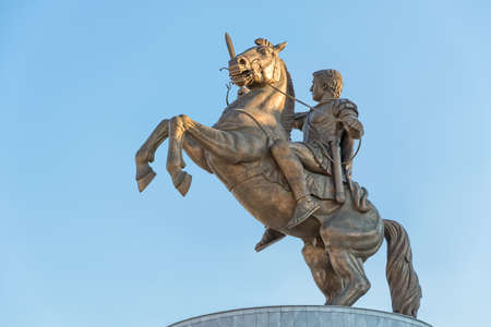 SKOPJE, MACEDONIA - JULY 17, 2015: Statue of Alexander the Great monument known as Warrior on the horse on capital city Macedonia Square. Editorial