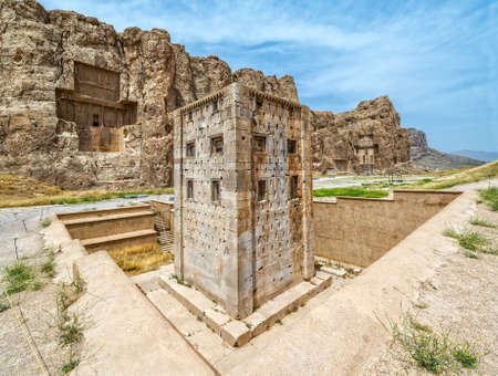 belonging: Naqsh-e Rustam Panorama of the historical four tombs belonging to Achaemenid kings and Cube of Zoroaster panorama view.