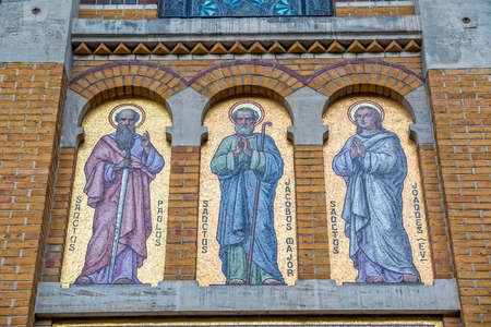 paulus: PARIS, FRANCE - JULY 9, 2015: The three mosaics of the Apostle Paulus, Jacobus and Joaddes on the Chapel of Our Lady of the Parish Cite Saint-Honore of Eylau in the city center.