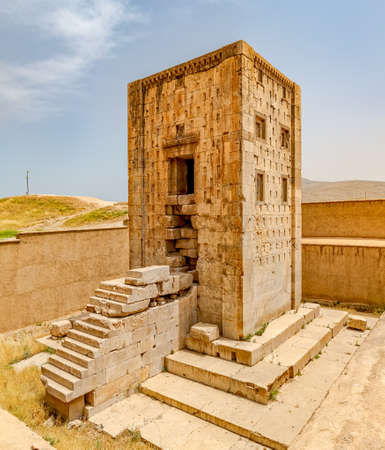 fars: Naqsh-e Rustams historical monument Cube of Zoroaster is enigmatic structure and one of many surviving examples of the Achaemenid architectural design. Stock Photo