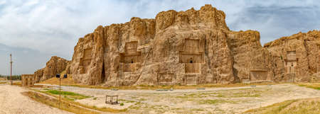 fars: Naqsh-e Rustam Panorama of the historical four tombs belonging to Achaemenid kings and Cube of Zoroaster panorama view.