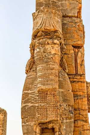 fars: Xerxes Gate of nations with Lamassu statues at the entrance of the old city Persepolis.