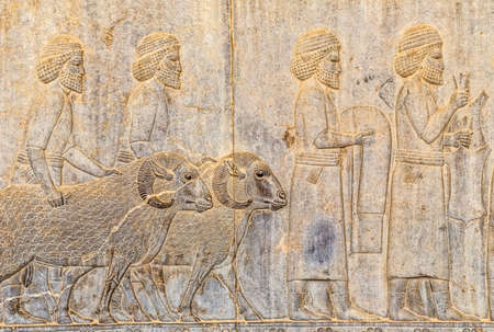 fars: Stone bas-relief of residents of historical empire with animals carved on the stairway facade of the Apadana at the old city Persepolis.