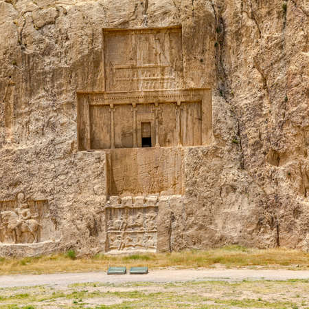 fars: The tomb of  Xerxes I at Naqsh-e Rustam an ancient necropolis located about 12 kilometres of Persepolis, Iran.