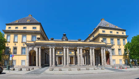 oswald: MUNICH, GERMANY - JUNE 4, 2015: Old building on Koniginstrasse 107 is the castle-like complex built in 1912-13 by Oswald E. Bieber and Wilhelm Hollweck, near English garden.