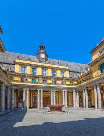 oswald: MUNICH, GERMANY - JUNE 4, 2015: Courtyard of the old building on Koniginstrasse 107, castle-like complex built in 1912-13 by Oswald E. Bieber and Wilhelm Hollweck, near English garden.