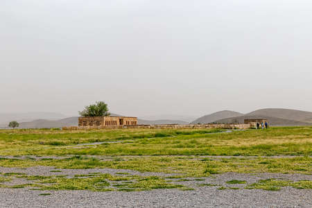 cyrus: Mozaffarid caravansarai ruins, part of the old archaeological site near the tomb of Cyrus the Great, Pasargad Iran.