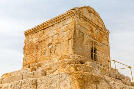 cyrus: Tomb of Cyrus the Great is the most important monument in Pasargadae old ruins near Shiraz, Iran. Stock Photo