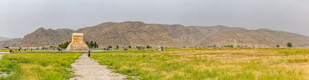cyrus: PASARGAD, IRAN - MAY 4, 2015: Panoramic view of the tourists checking out the tomb of Cyrus the Great.