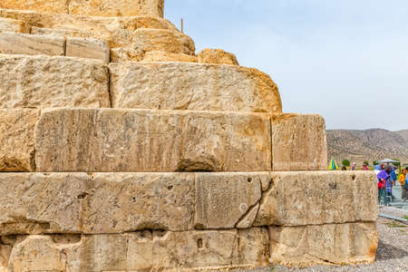 cyrus: PASARGAD, IRAN - MAY 4, 2015: Inscription on the walls of the tomb of Cyrus the Great.