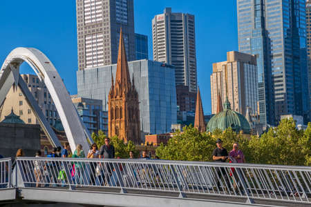 southbank: MELBOURNE, AUSTRALIA - MARCH 21, 2015: View of Southbank footbridge on the beautiful sunny day. Editorial