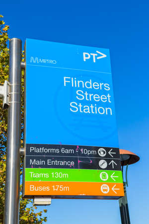 southgate: MELBOURNE, AUSTRALIA - MARCH 21, 2015: Flinders street sign closeup near Southbank footbridge on the beautiful sunny day.