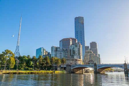 skylines: MELBOURNE, AUSTRALIA - MARCH 21, 2015: View of the Southbank high skylines and buildings from the Princes Walk on the beautiful sunny day.