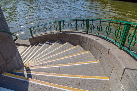 southbank: Stairs leading to the promenade along Yarra riverin Southbank, Malbourne, Australia. Stock Photo