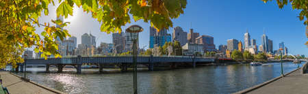 southbank: MELBOURNE, AUSTRALIA - MARCH 21, 2015: Panoramic view of the city from Southbank on the beautiful autumn sunny day.