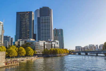 southgate: MELBOURNE, AUSTRALIA - MARCH 21, 2015: View of the Southbank buildings and Sandrige bridge on the beautiful sunny day.