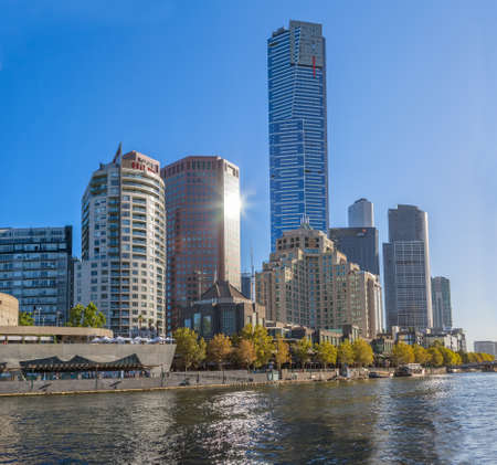 skylines: MELBOURNE, AUSTRALIA - MARCH 21, 2015: View of the Southbank high skylines and buildings on the beautiful sunny day.
