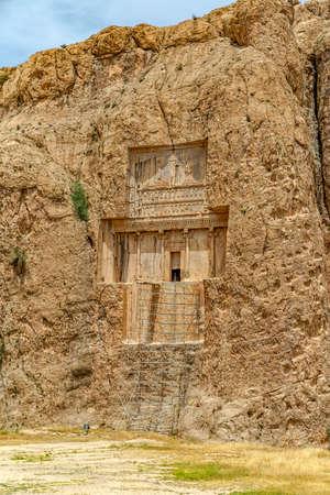 fars: The tomb of  Xerxes I at Naqsh-e Rustam an ancient necropolis located about 12 kilometres of Persepolis, Iran.