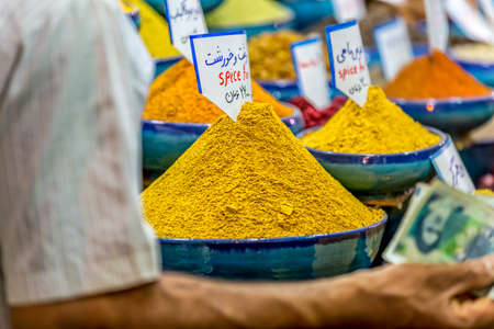 exposed: Exposed spices with prices in the store on the Vakil Bazaar in the Shiraz city centre, Iran.