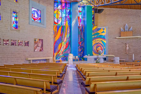 leopold: MELBOURNE, AUSTRALIA - MARCH 19, 2015: Saint Leopold Mandic church interior decorated with stained glass and paintings by famous Croatian artists Petar Barisic, Charles Billich, Josip Botteri Dini.