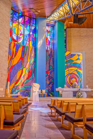 leopold: MELBOURNE, AUSTRALIA - MARCH 19, 2015: Saint Leopold Mandic church interior decorated with stained glass and paintings by famous Croatian artists Petar Barisic and Josip Botteri Dini in Sunshine.