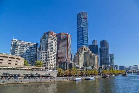 southgate: MELBOURNE, AUSTRALIA - MARCH 21, 2015: Southbank high skylines and buildings, one of the primary business centers and also one of the most densely populated areas on the beautiful sunny day. Editorial