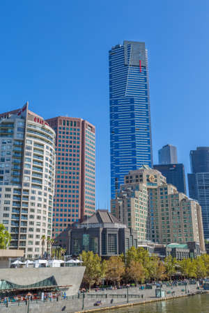 southbank: MELBOURNE, AUSTRALIA - MARCH 21, 2015: Southbank high skylines and buildings on the beautiful sunny day.
