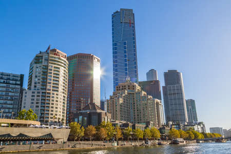 southgate: MELBOURNE, AUSTRALIA - MARCH 21, 2015: View of the Southbank high skylines and buildings on the beautiful sunny day.