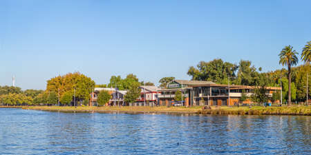 arhitecture: MELBOURNE, AUSTRALIA - MARCH 21, 2015: View of the Boathouse arhitecture from the Princes walk on the beautiful sunny day.