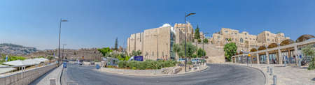 kotel: JERUSALEM, ISRAEL - JUNE 19, 2015: Panoramic view from the Dung Gate to the entrance of the Western Wall, Wailing Wall or Kotel.