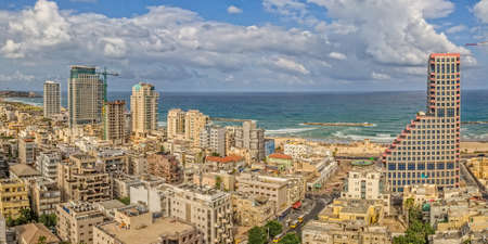 TEL AVIV, ISRAEL - JUNE 19, 2015: Aerial view of the city buildings, beach, riviera and hotels.