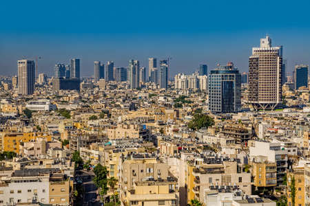 TEL AVIV, ISRAEL - JUNE 18, 2015: Aerial view of the city buildings and private houses.